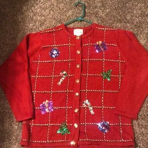 Red detailed Christmas sweater.